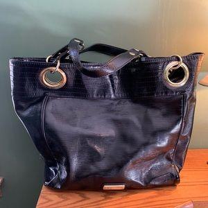 Steve Madden Large Black Vinyl Tote Bag